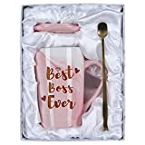 Best Boss Ever Marble Coffee Mug For Boss Boss Lady, Boss Day Gifts Caramic Coffee Mug For Boss Lady Manager Director Superior, 14 Oz Pink Marble Mug With Spoons