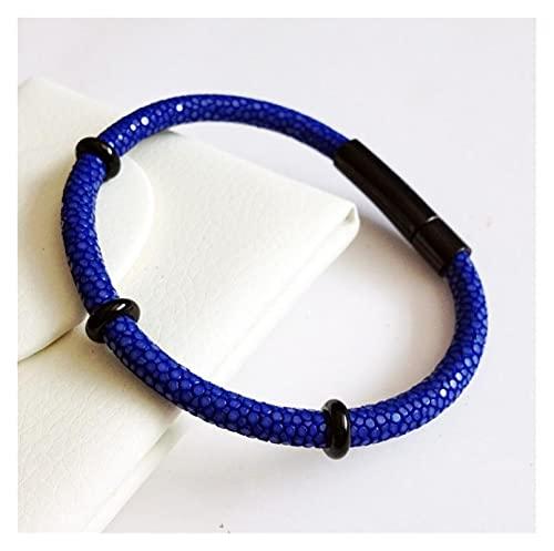 YYYSHOPP Joyería Pulseras Pulsera de Cuero Azul Negro para Hombres joyería de Lujo Brazalete Negro Plata 17cm Esposas (Color : Blue Black)