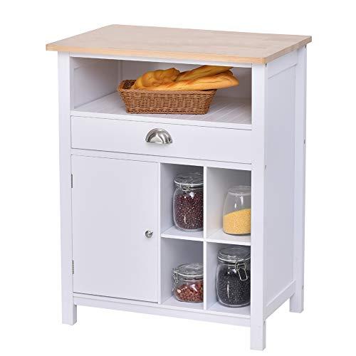 HOMCOM Küchenschrank Beistellschrank Kommode Schrank Sideboard Badezimmerschrank mit Schublade und Weinregal Weiß, 70 x 45 x 88 cm