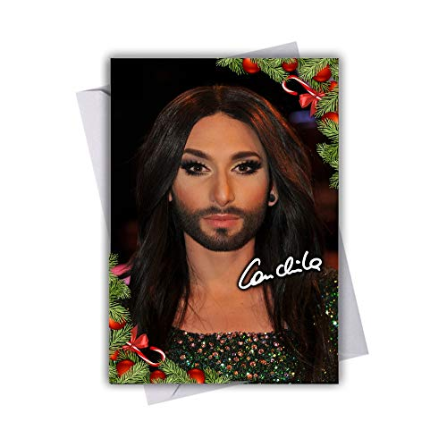 Conchita Wurst - Eurovision 1 Chistmas Card with Festive Xmas Themed Design