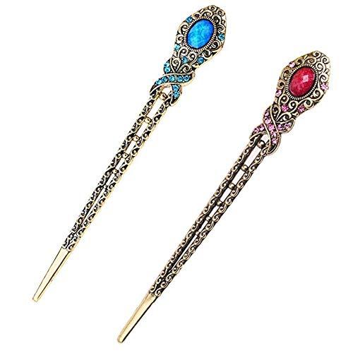 Antike Bronze Diamant Schmetterling Haarnadeln Haarstöcke 2 Stück (Blau und Lila)