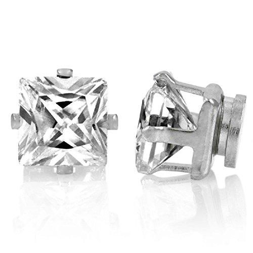 8 mm, con Zirconia cubica e chiusura magnetica, Stone-Orecchini senza necessità di gioielli