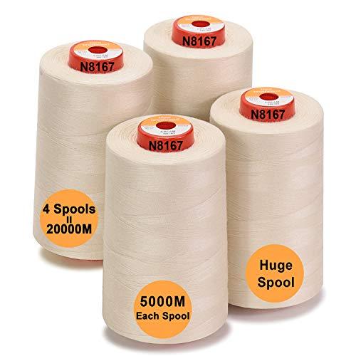 New brothread - 28 Opciones - 4 Bobinas Grandes de 5000M hilo de coser de poliéster todo propósito 40S/2 (Tex27) para coser, acolchar, patchwork, remalladora y overlock - Cream