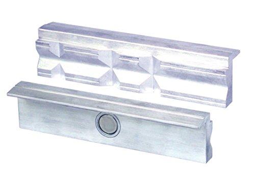 HEUER Magnet-Schutzbacke Typ P für Schraubstock 125 mm, Aluminium mit Prismen, zum Spannen von Werkstücken in verschiedensten Formen