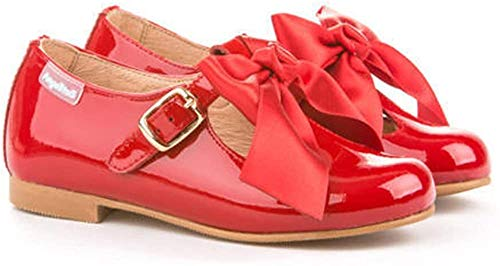 Merceditas de Charol con Lazo para Niña. Marca AngelitoS. Modelo 516. Todo Piel. Calzado Infantil Hecho en España. Color Rojo. Número 28