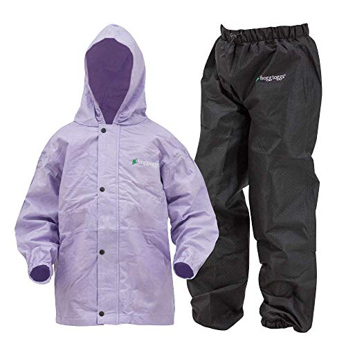 Frogg Toggs Polly Woggs Waterproof Breathable Rain Suit, Youth, Violet, Size Medium