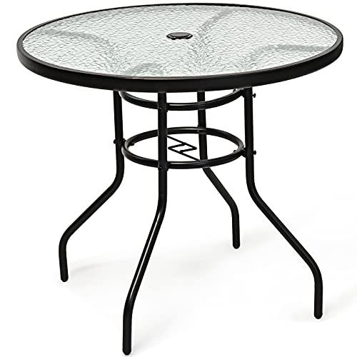 GYMAX runder Bistrotisch, Gartentisch mit Glasplatte & Schirmloch, Balkontisch Terrassentisch mit Metallgestell, wetterfest, Ø80 x 72 cm, für Balkon, Terrasse, Garten