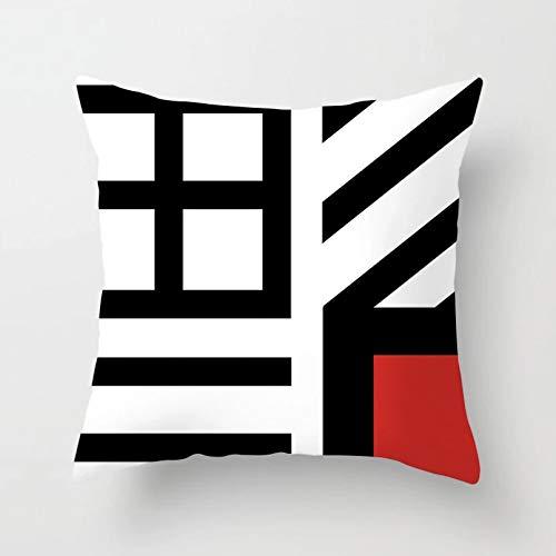 ACYKM Funda cojín Funda Almohada para sofá Impresión Digital Moderno nórdico geométrico Rojo Negro Funda cojín poliéster a Cuadros Patchwork Rayas Estampado Funda Almohada sofá Almohadas Decorativas