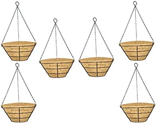 GARDEN KING 10 INCH Coir Flat Hanging Basket with Chain (Set of 6 Pcs) Coir Hanging Pots Home Garden