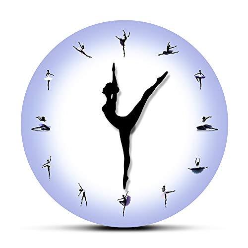 NIGU Reloj de pared de bailarina morada con reloj de baile, manos modernas, minimalistas, elegantes, habitación de niña, dormitorio, silencioso, no hace tictac, regalo para hombres