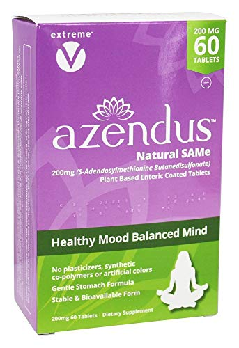 Azendus SAM-e Mood Support 200mg per Tablet, 60 Count, Same Tablets, Physician Trusted, 1 Recommended Active Form- Pure, Natural, Stable, Pharmaceutical Grade SAM-e