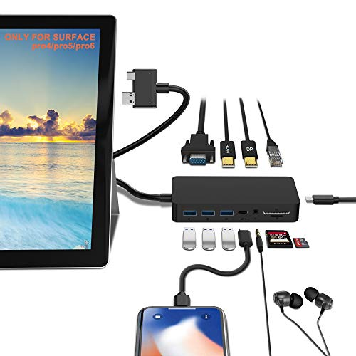 Surface Pro Docking Station per Surface Pro 6/5/4 con 4K HDMI, VGA, DP, porta RJ-45 Gigabit Ethernet, 3 porte USB 3.0, porta USB C, porta di uscita audio, lettore di schede SD / TF, porta micro USB