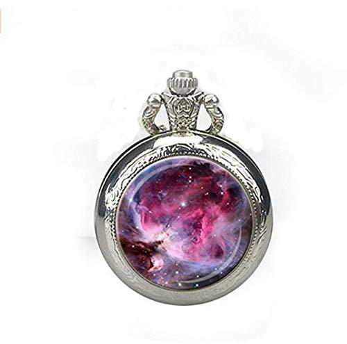 Orion Nebula Taschenuhr Halskette Pink Fuchsia Lavendel Orion Nebel Uhr Halskette Astronomie Anhänger
