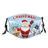 Cubierta facial protectora de boca lavable, antipolvo, fondo de Navidad Santa Claus Rudolf, reutilizable a prueba de viento para esquí al aire libre, ciclismo, camping