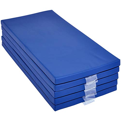 Amazon Basics Memory Foam Rest Nap Mats with Name-Tag Holder - Blue, 5-Pack