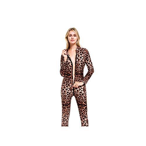 DOGZI Lencería Mujeres Leopardo Sexy Body Zip Cremallera De Manga Larga De La Entrepierna Abierta LenceríA Mono Ladies Leopardo Cremallera Abierta De Alta Mono EláStico LenceríA EróTica