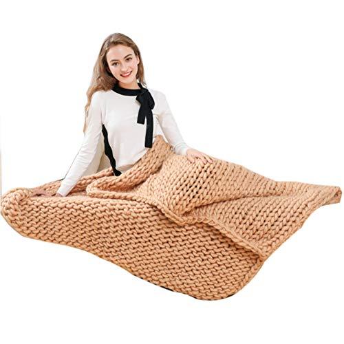 Blanket Main Chunky Couverture Tricotée, Doux Et Chaud à La Main Bras Couverture Tricotée en Coton épais Chunky Line Home Décor,Brown-80 * 100cm
