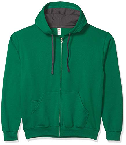 Fruit of the Loom Men's Full-Zip Hooded Sweatshirt, Clover, Large