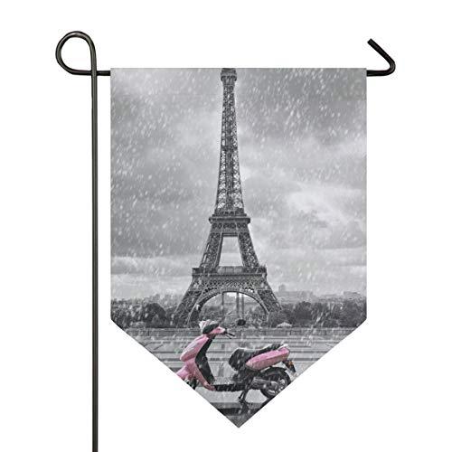 DEZIRO Garden Flag Eiffeltoren In De regen Met Roze Scooter Patroon Verticale Dubbelzijdige Yard Decor Kleurrijk Ontwerp voor Alle Seizoenen & Vakanties 12x18.5in 1 exemplaar