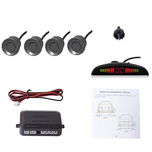 CoCar Auto Rückfahrwarner Einparkhilfe 4 Sensoren Einparkassistent Einparksystem PDC + LED Anzeigen + Akustische Warnung - Grau