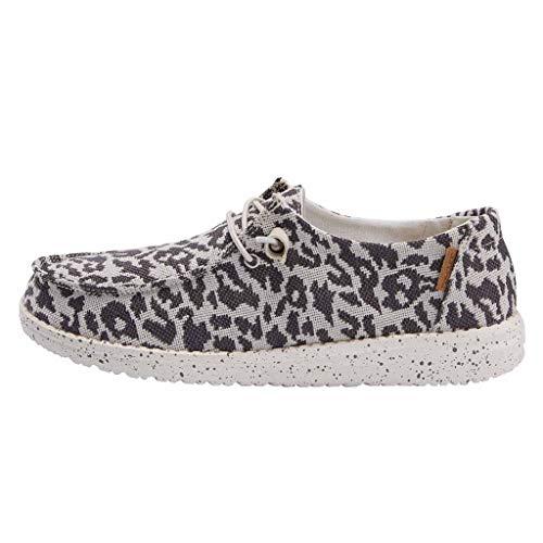Hey Dude Women's Wendy Woven Cheetah Grey Size 9