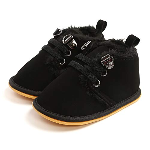 Baby Boys Girls Booties Fleece Anti-Slip Soft Sole Winter Boots Toddler First Walker Warm Crib Shoes Black 12CM
