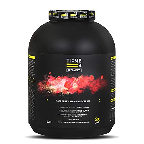 Time 4 Recovery - Post Workout Recovery Protein Powder, Recovery Protein Blend - Whey Isolate, Whey Concentrate, Hydrolysed Whey + Carb Blend – Recovery Formula (5.1kg, Raspberry Ripple Ice Cream)
