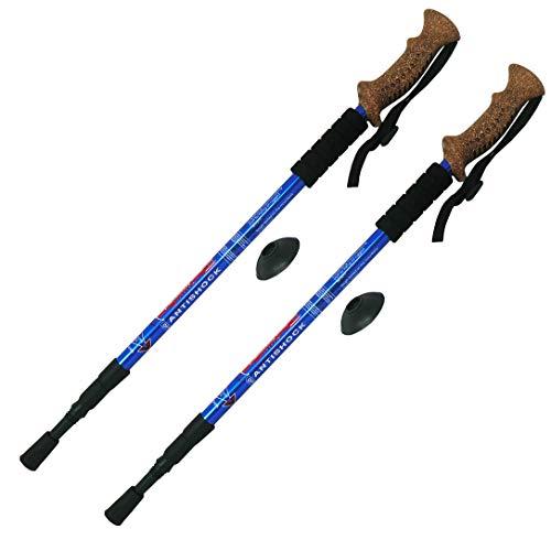 Par de bastones de senderismo antishock Nordic Walking con mango tipo corcho (no es corcho) – Tamaño ajustable 138 x 65 cm (color azul) ⭐