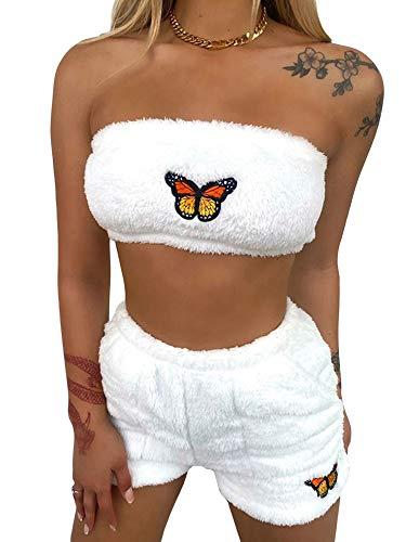 Conjunto de pijama lindo para mujer con diseño de conejito de peluche, sujetador de tubo, pantalones cortos de verano, trajes de dormir de 2 piezas
