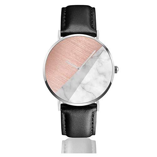 Montre à quartz en cuir or rose avec housse de couette en marbre, unisexe, classique, décontracté, tendance, montre à quartz en acier inoxydable avec bracelet en cuir