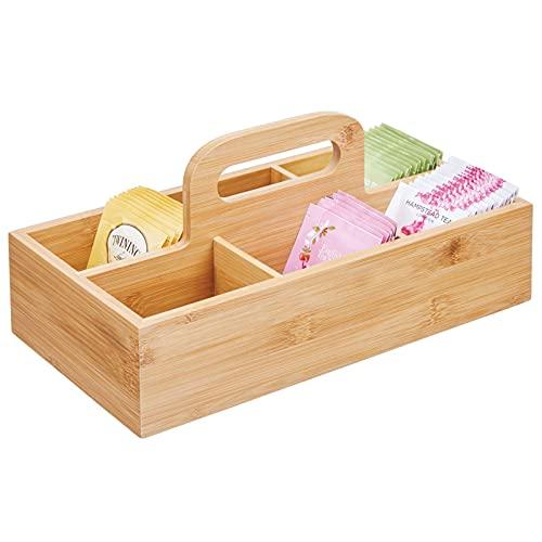 mDesign Organizador de cocina de madera – Práctica caja de almacenaje para cocina y despensa – Perfecta cesta con asa para guardar té,...