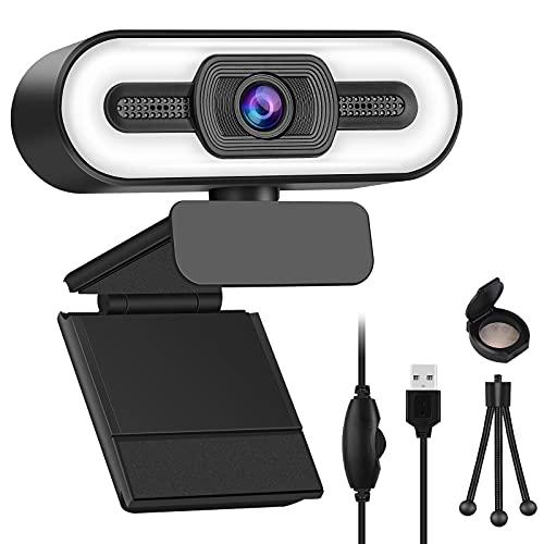 Webcam mit Mikrofon für Pc, Webcam, HD 1080P Streaming Kamera mit Stativ und Webcam Abdeckung, USB 2.0 Plug und Play Webcam für Video Chat, Aufnahme, Spiel und Live-ubertragung