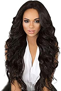 BARSDAR Wigs 27 Inches Brown Long Curly Wavy Wig Rose Net Full Head Wigs for Black Women Side Part Heat Resistant Synthetic Wigs with Light Bangs (8038)