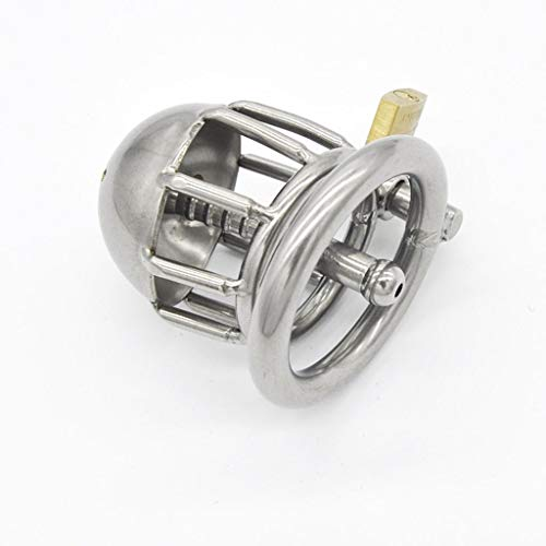 HZB Heren Slip RVS Trainer, metalen ring Cage met hangslot en Key sunglasses,T-shirt (Size : 40mm)