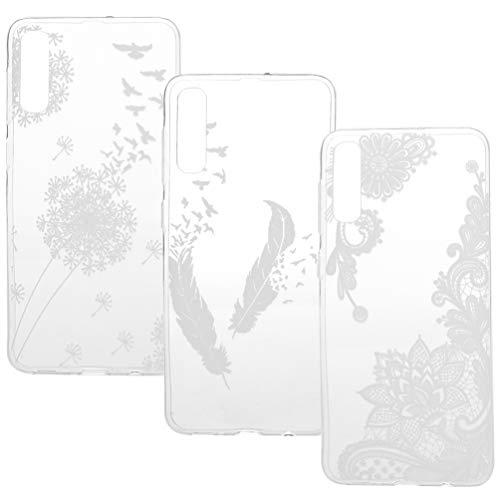 A50 Durchsichtige Handyhülle Kompatible für Samsung Galaxy A50 Hülle Case Cover Silikon Transparent Tasche Schutzhülle Handytasche Skin Softcase Schale Bumper Silikonhülle Mädchen Deckel Etui*3-Set7