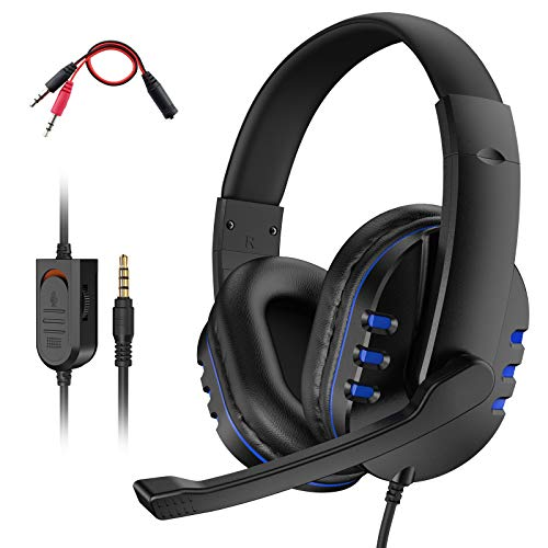 Dhaose Auriculares Gaming para PS4 con cancelación de ruido con cable de 3,5 mm, estéreo, montado en la cabeza, para PC/PS4/Xbox One/Nintendo Switch/Mac Laptop/Smartphone (azul)