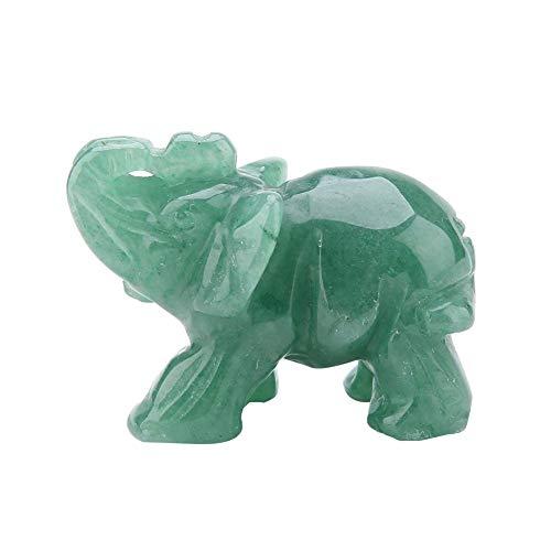 Hilitand Figuras de Elefantes de Cristal, 2 Pulgadas de Jade Natural Tallado Figuras de Cristal de Elefante Decoración para el hogar Artículos de decoración Artículo(Green Aventurine)
