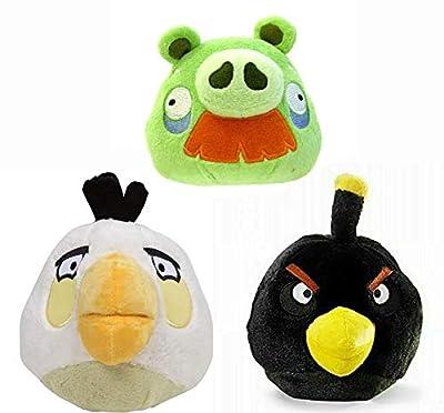 "Commonwealth Toys Angry Birds Plush 5"" 3 Pack Assortment Moustache Pig, Black Bird, White Bird"