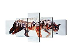 Yatsen Bridge Wolf Painting on Canvas 5 Piece Modern Landscape