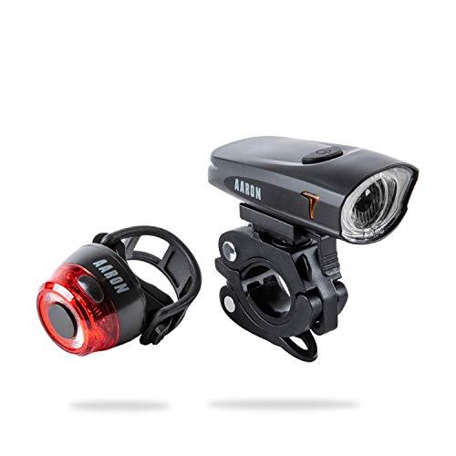 AARON LUX LED Fahrradlicht Set mit Wieder aufladbarem Akku, werkzeugloses montieren am Lenker deines Fahrrads oder E-Bike, Fahrradbeleuchtung, Schwarz