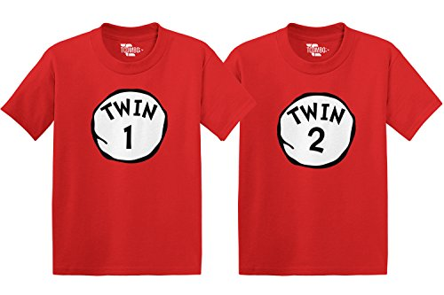Twin 1 & Twin 2 Toddler/Infant T-Shirt 2 Pack (Red/Red, 3T/3T)