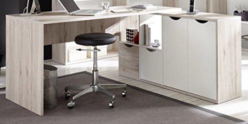 Stella Trading Eckschreibtisch Winkelschreibtisch Schreibtisch in Weiß, Absetzung in Sandeiche Nachbildung, BxHxT 160x145x 77 x 67/33 cm