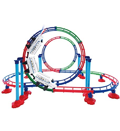 Mozlly Battery Powered High Speed Grand Bullet Roller Coaster Train 112 Pc Loop Race Track - Operated Car Railway Building Play Set for Boys, Girls, Kids 15""
