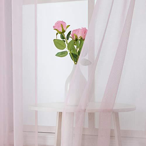MIULEE 2er Set Sheer Voile Vorhang StangedurchzugTransparente Gardine aus Voile Polyester Fensterschal Transparent Wohnzimmer Luftig für Schlafzimmer 140 X 215 cm (B x H), Rod Pocket Baby Rosa