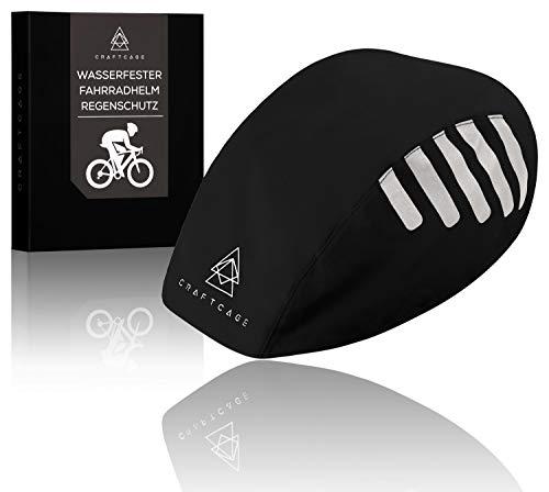 CRAFTCAGE® Fahrradhelm Regenschutz (Unisex) Wasserdicht Dank versiegelter Naht und PU Beschichtung I Regenschutz Fahrradhelm mit hoher Sichtbarkeit durch speziell angebrachte Reflektoren