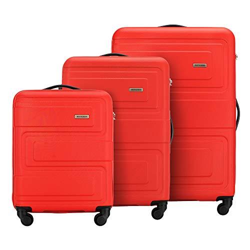 WITTCHEN Koffer – Set of 3   hartschalen, Material: ABS   hochwertiger und Stabiler   Red   Verschiedene Größen