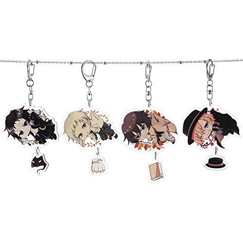 RedCherry - Portachiavi con pendenti a forma di personaggi, figure di anime, in metallo, bamboline dei cartoni giapponesi, Bungou Stray Dogs-1