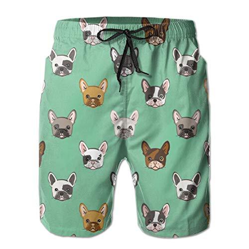 FEIFIVEP Cute French Bulldog (1) Men's Shorts Beach Pants Pajama Sleep Pants Jogger Swim Trunks White