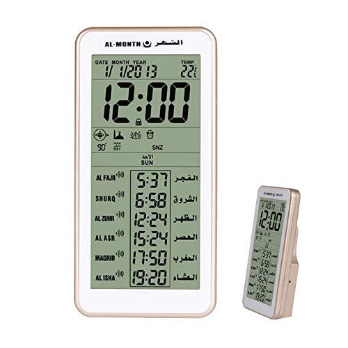 DYJD Reloj Despertador Digital islámica Regalo musulmán Azan Oración función de Reloj de Hora Mundial, la Meca de la música para Orar múltiples Funciones del Reloj del LCD,Oro