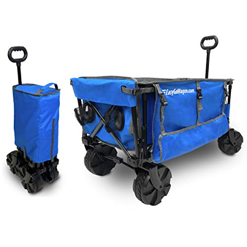 EasyGoProducts EGP-WGN-001-BLU Big Wheel Cart W Table and Side Umbrella Holders, Heavy Duty Deluxe, Folding Beach Wagon Blue